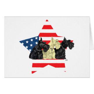 Patriotic Scottish Terriers on Star Card