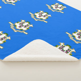 Patriotic Sherpa Blanket with flag of Connecticut