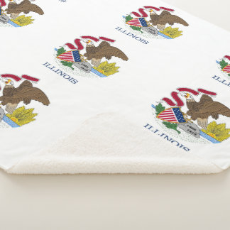 Patriotic Sherpa Blanket with flag of Illinois