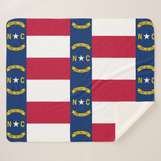 Patriotic Sherpa Blanket with North Carolina flag
