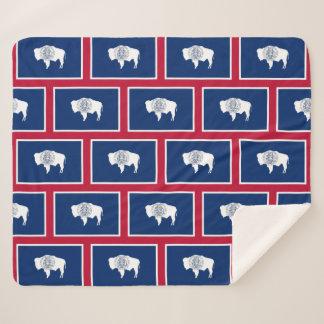 Patriotic Sherpa Blanket with Wyoming flag