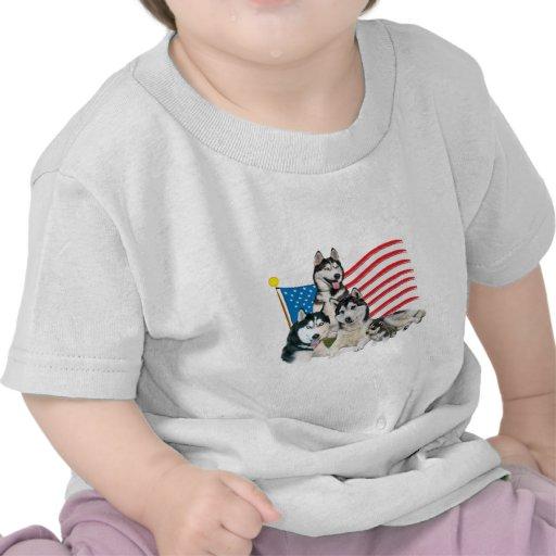Patriotic Siberian Husky Family Tee Shirt