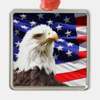 Patriotic Silver-Colored Square Decoration
