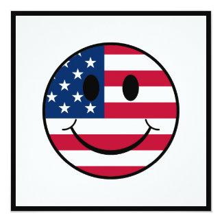 Patriotic Smiley 13 Cm X 13 Cm Square Invitation Card