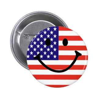 Patriotic Smiley Face 6 Cm Round Badge