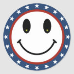 Patriotic Smiley Round Sticker