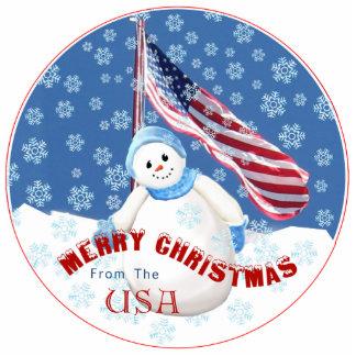 Patriotic Snowman Christmas Ornament with American Photo Sculpture Decoration