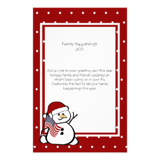 Patriotic Snowman Family Letter Stationery