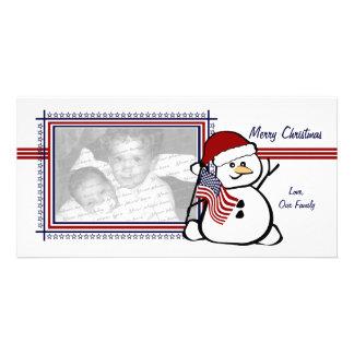 Patriotic Snowman Photo Card Template