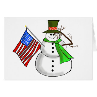 Patriotic Snowman Salutes Christmas Greeting Card