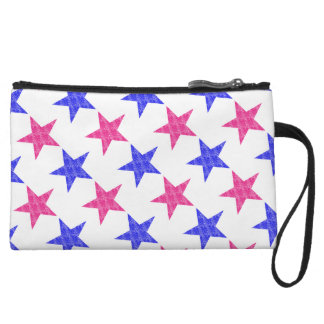 Patriotic Stamped Stars Wristlet Clutches