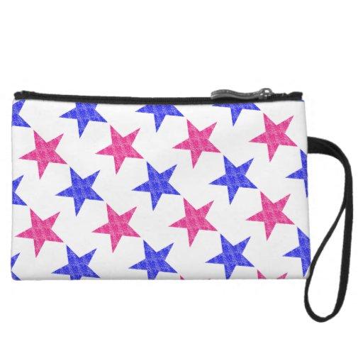 Patriotic Stamped Stars Wristlet Clutches