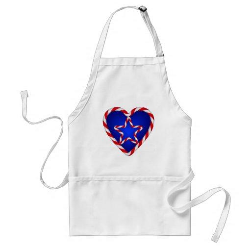 Patriotic Star Heart Aprons