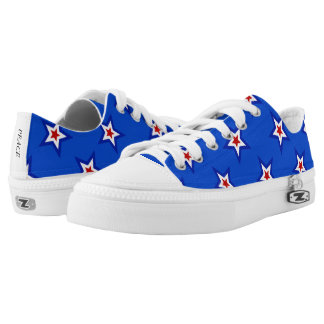 Patriotic Star Pattern on Blue Low Top Canvas Shoe Printed Shoes