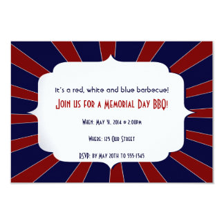 Patriotic Starburst Red White and Blue 9 Cm X 13 Cm Invitation Card
