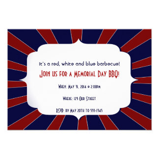 Patriotic Starburst Red White and Blue Personalized Announcements