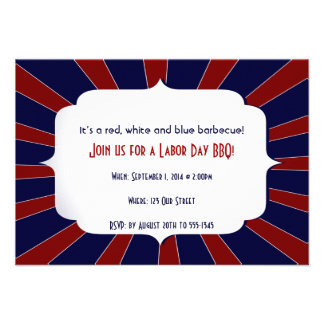 Patriotic Starburst Red White and Blue Labor Day Custom Invitation