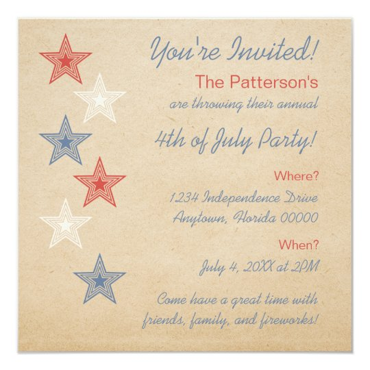 Patriotic Stars 4th of July Invitation