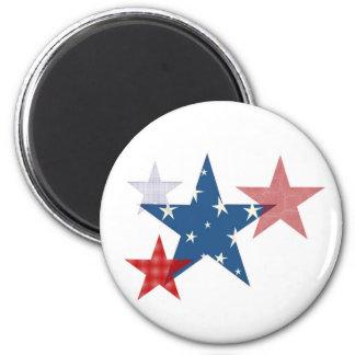 Patriotic Stars 6 Cm Round Magnet