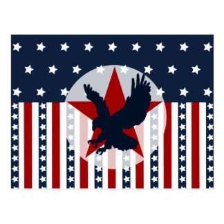 Patriotic Stars and Stripes Bald Eagle American Postcard