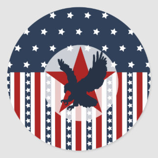 Patriotic Stars and Stripes Bald Eagle American Round Sticker