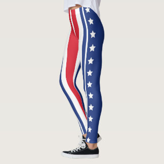 Patriotic Stars and Stripes in Red White & Blue Leggings