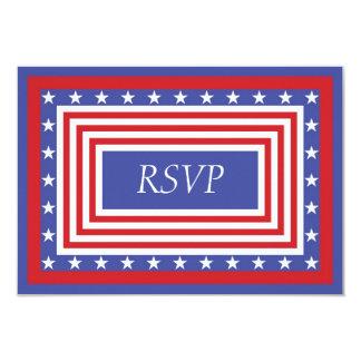 Patriotic Stars and Stripes RSVP 9 Cm X 13 Cm Invitation Card