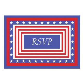Patriotic Stars and Stripes RSVP Invitations