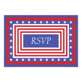 Patriotic Stars and Stripes RSVP Invitations