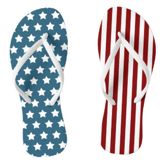 Patriotic Stars and Stripes Thongs