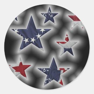 Patriotic Stars Classic Round Sticker