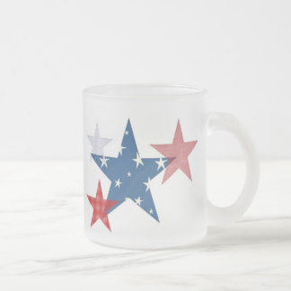 Patriotic Stars Frosted Glass Coffee Mug