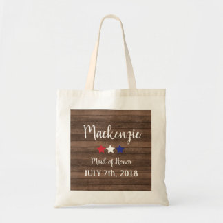 Patriotic Stars Rustic 4th July Maid of Honor Gift Tote Bag