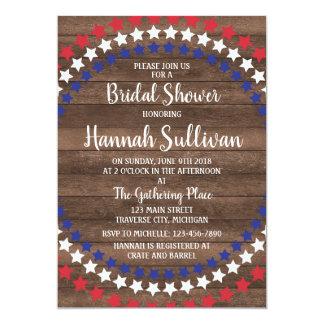 Patriotic Stars Rustic 4th of July Bridal Shower Card