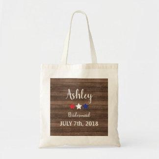 Patriotic Stars Rustic 4th of July Bridesmaid Gift Tote Bag