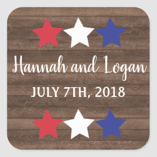 Patriotic Stars Rustic Fourth of July Stickers