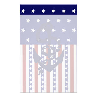 Patriotic Stars Stripes Anchor Sailor Pattern Customized Stationery