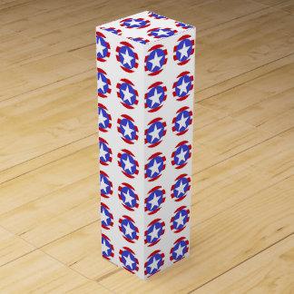 Patriotic Stars, Stripes and Circles Wine Gift Box