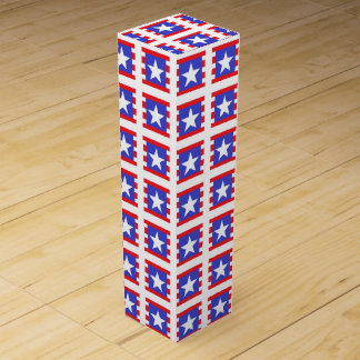 Patriotic Stars, Stripes and Squares Wine Gift Box