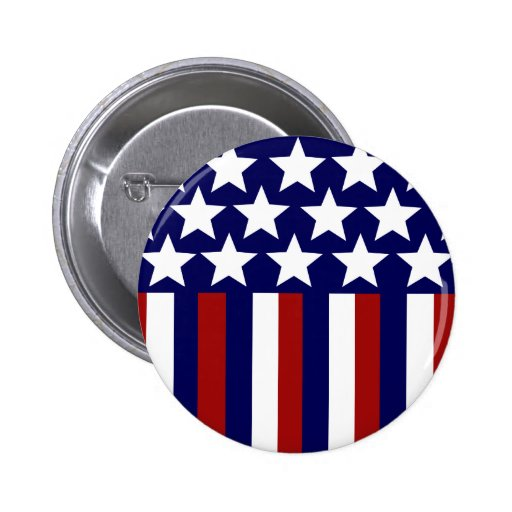 Patriotic Stars Stripes Freedom Flag 4th of July Pinback Buttons