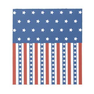 Patriotic Stars Stripes Freedom Flag 4th of July Memo Pad