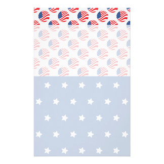 Patriotic Stars Stripes Freedom Flag 4th of July Customized Stationery