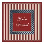 Patriotic Stars & Stripes July 4th Party Invites 13 Cm X 13 Cm Square Invitation Card