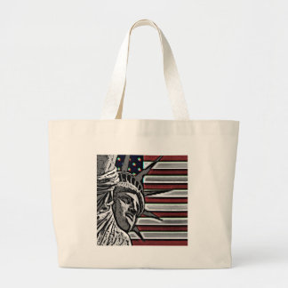Patriotic Statue of Liberty Large Tote Bag