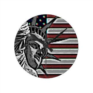 Patriotic Statue of Liberty Round Clock