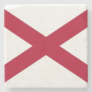 Patriotic stone coaster with Flag of Alabama