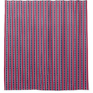 Patriotic Stripes, American flag bathroom decor Shower Curtain