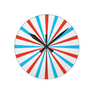 Patriotic Stripes Round Clock