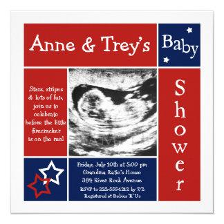 Patriotic Summer Baby Shower Invitations