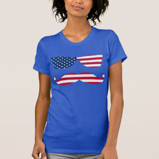 Patriotic Sun Glasses and Mustache T-Shirt
